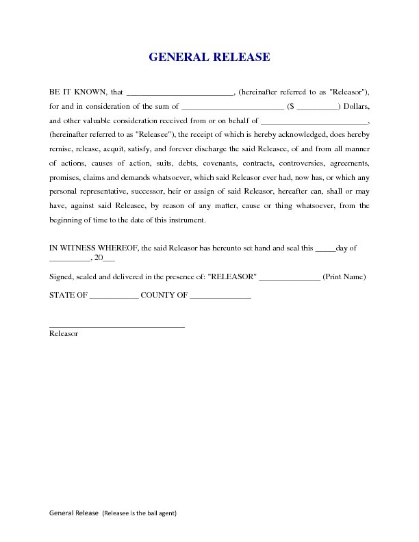 General release form free printable documents for General release of information form template